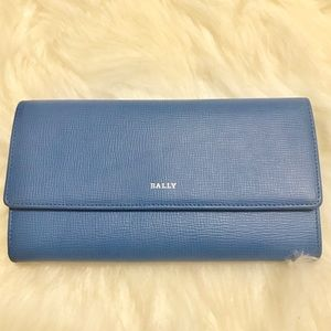 Authentic Bally Bruton Wallet Trifold Leather Blue